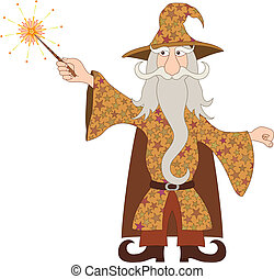 Wizard casting spell with magic wand - Wizard, cartoon...