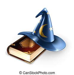 wizard, chapéu, e, antigas, livro