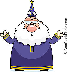 Wizard Confused - A cartoon wizard with an confused...