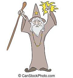 wizard, feitiço, lançando, caricatura