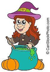 Wizard girl with cauldron - isolated illustration.
