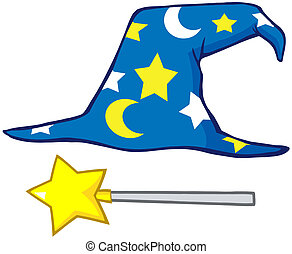 Wizard Hat And Magic Stick Cartoon Character