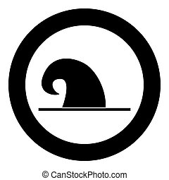 Wizard hat icon black color in circle