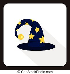 Wizard hat icon, flat style