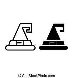 Wizard hat line and glyph icon. Witch hat vector illustration isolated on white. Magic hat outline style design, designed for web and app. Eps 10.