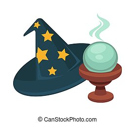 Wizard hat with stars and magic glass ball - Wizard cone hat...