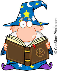 Wizard Holding A Magic Book Cartoon Character