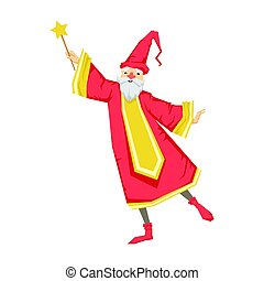 Wizard holding a wand. Colorful fairy tale character Illustration