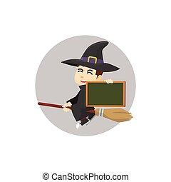 Wizard holding black board