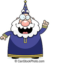 Wizard Idea - A happy cartoon wizard with an idea.