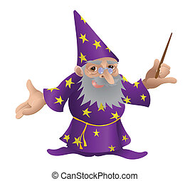 Wizard illustration. An illustration of a very funky friendly wizard
