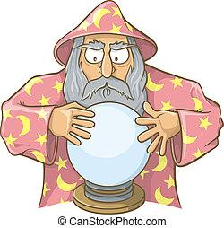 Wizard in pink cape with magic ball - Old wizard cartoon in...