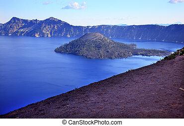 Wizard Island Blue Crater Lake Black Rim Oregon