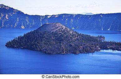 Wizard Island Crater Lake Blue Sky Oregon