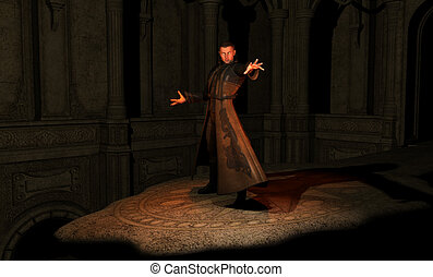 male wizard prepares to cast a spell