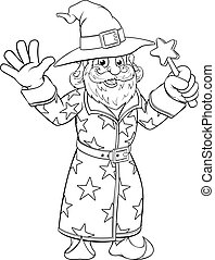 Wizard Merlin Cartoon Coloring Book Page