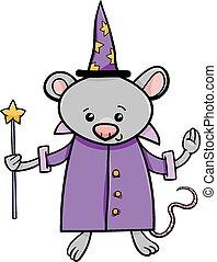 wizard mouse cartoon illustration