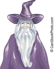 Wizard Old Purple Gown Sketch