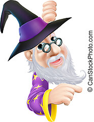 Wizard peeping round sign - A cartoon wizard character...
