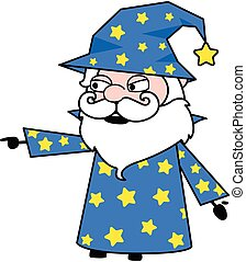 Wizard Pointing Finger Cartoon