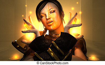 wizard portrait - High resolution portrait of wizard woman...