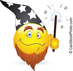 Wizard Smiley Face with Magic Wand - Creative Abstract...