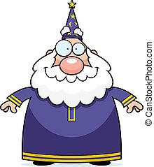 Wizard Smiling - A happy cartoon wizard standing and...