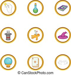 Wizard things icons set, cartoon style