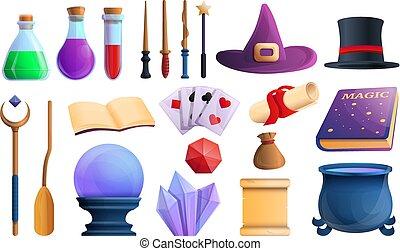 Wizard tools icons set, cartoon style