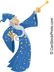 Vector image of an cartoon smiling wizard