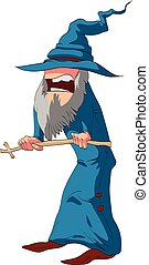 Wizard with a blue robe.