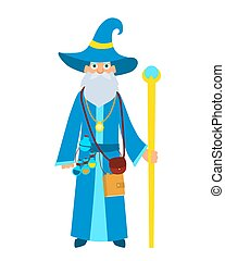 Wizard with a magic stick
