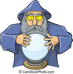 Wizard with magic ball - Old wizard cartoon looking at magic...