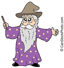 Wizard with magic wand - isolated illustration.