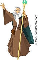 Sorcerer wizard magician with staff