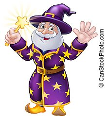 Wizard with Wand Cartoon Character