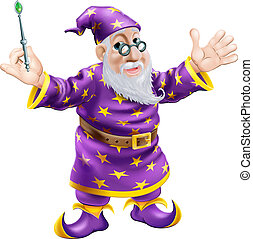 Wizard with Wand - A cartoon cute friendly old wizard...