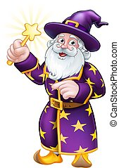 Wizard with Wand Pointing Cartoon Character