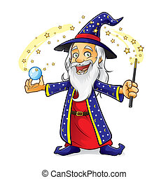 Wizard - wizard is holding a crystal ball as he waved his...