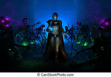 high resolution highly detailed 3d illustration of wizard woman walking amongst undead skeletons and zombies holding a spell with a smirk on her face.