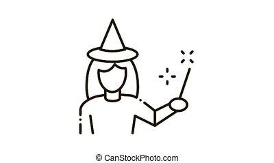 Wizard Woman Icon Animation. black Wizard Woman animated icon on white background