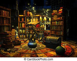 Wizard's study - 3d render illustration