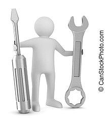 wizerunek, śrubokręt, odizolowany, tło., klucz do nakrętek, biały, człowiek, 3d
