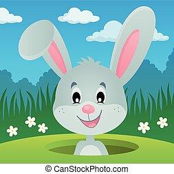 wizerunek, 2, otwór, królik, przyczajony