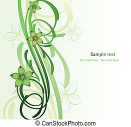 wizerunek, abstrakcyjny, tam, kwiaty, gałąź, woluta