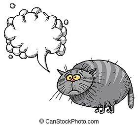 wizerunek, cat-100, tłuszcz, rysunek