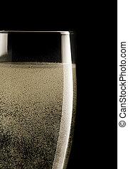 wizerunek, do góry, szkło, czarne tło, zamknięcie, szampan