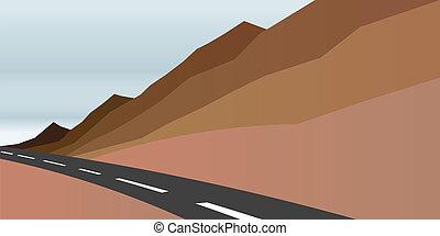 wizerunek, droga, scena, góry