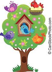 wizerunek, drzewo 3, stylizowany, temat, ptaszki