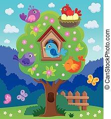 wizerunek, drzewo, stylizowany, temat, 4, ptaszki